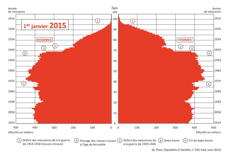 Pyramide des ages France 2015